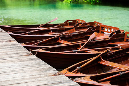 Boats on Plitvice Lakes