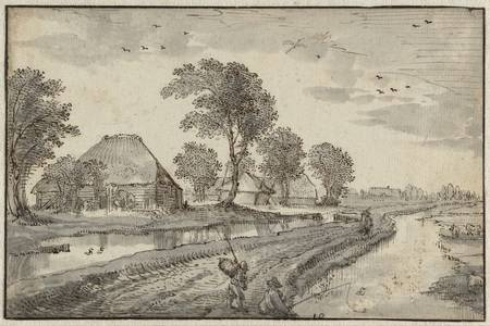 "Claes Jansz. Visscher:""Road between Watercourses in a Polder Landscape"""