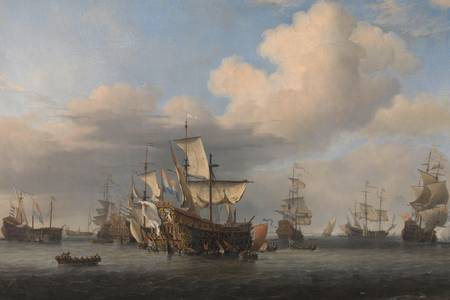 """Willem van de Velde (II): """"""""Zdobyte angielskie statki po trzydniowej bitwie"""""""""""