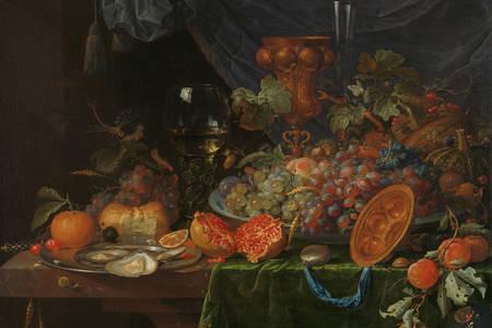 """Abraham Mignon: """"Csendélet gyümölcs és kagyló"""""""