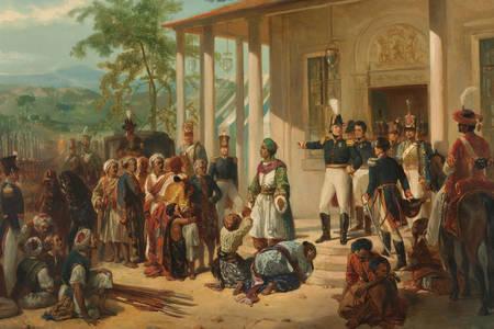 """Nicolaas Pieneman: """"La rendición del príncipe Diponegoro ante el general De Kock"""""""