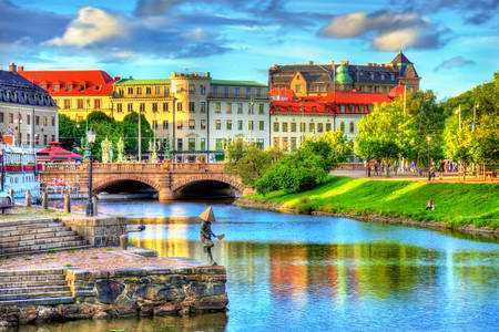 Canal in the historic center of Gothenburg