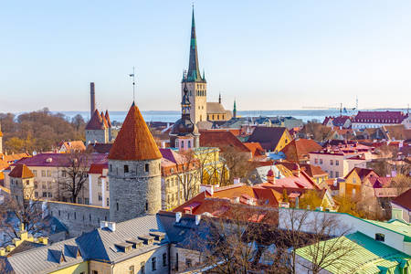 Aerial view of Tallinn Old Town
