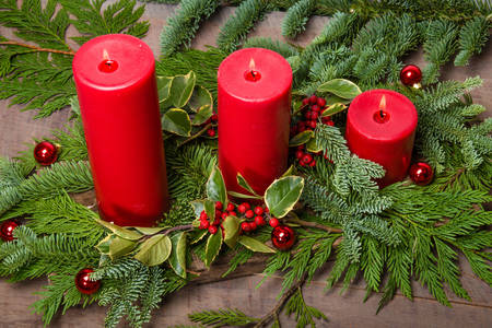 Christmas composition with candles