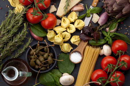 Set of products for Italian dishes