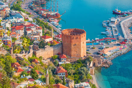 Kyzyl Kule tower in the port of Alanya