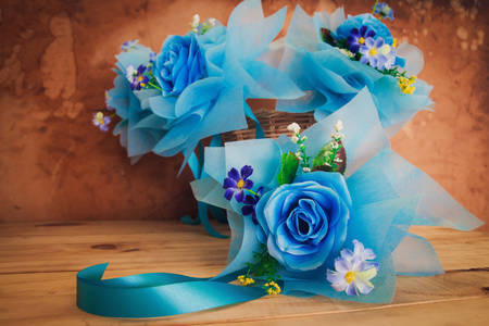 Bouquets with blue roses