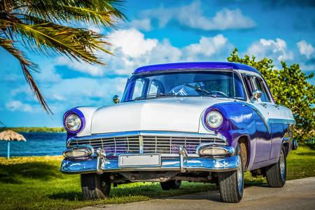 Retro car near the beach