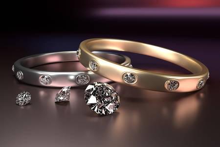 Anillos de boda y diamantes