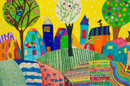 Gyermek rajza egy város