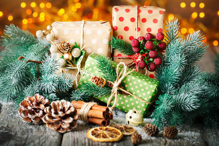 Gifts in fir branches