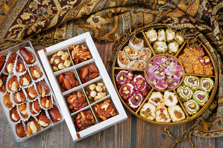 Set of oriental sweets