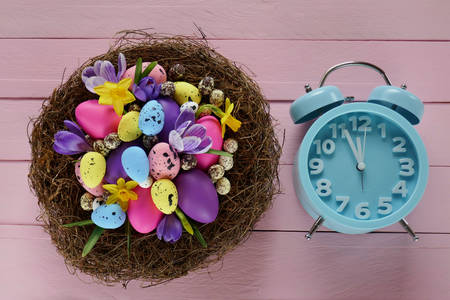 Nest with easter eggs and alarm clock on pink background