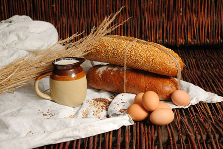 Rustic bread, milk and eggs