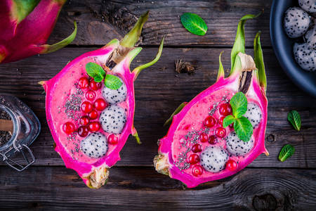 Dessert with pitahaya