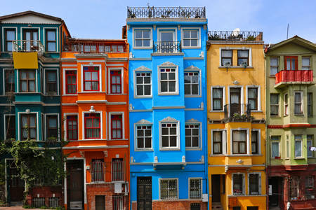 Colorful houses in Balat quarter