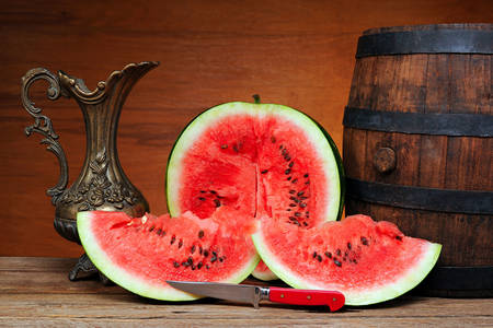 Watermelon, barrel and pitcher