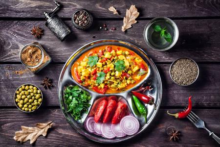 Маттар панир с овощами