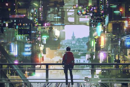 Φουτουριστική πόλη με πολύχρωμο φως