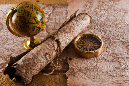 Vintage maps, globe and compass