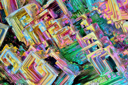 Close-up of bismuth crystals