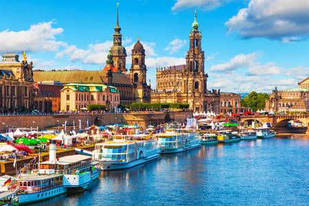 View of the waterfront in the city of Dresden