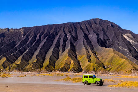 Green Jeep at Bromo Volcano