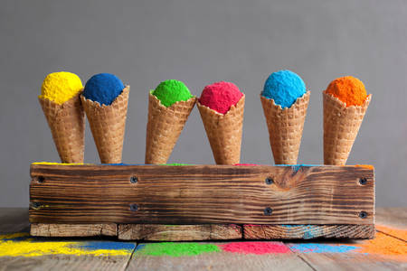 Holi paints in waffle cones