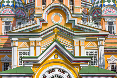 Facade of the Ascension Cathedral in Almaty