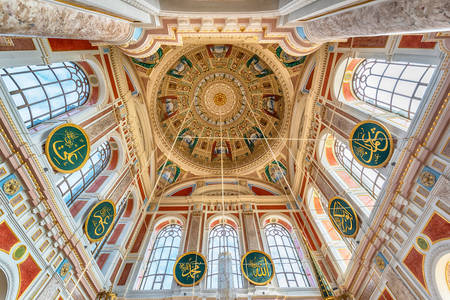Interior view of the dome of the Ortakoy Mosque