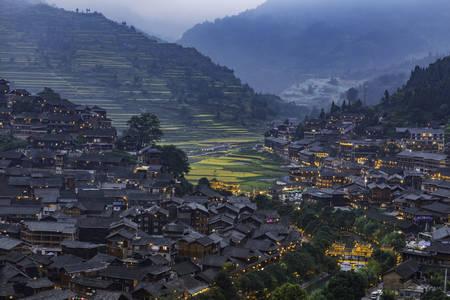Nacht in einem chinesischen Dorf