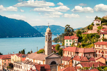 View of the city of Moltrasio and Lake Como