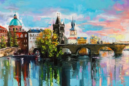 "Painting ""Charles Bridge at Sunset"""
