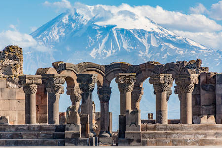 Ruins of the Zvartnots temple against the background of Mount Ararat