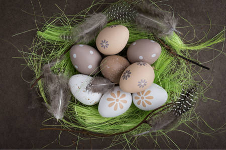 Easter eggs in a decorative nest