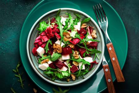 Arugula, nuts and cheese salad