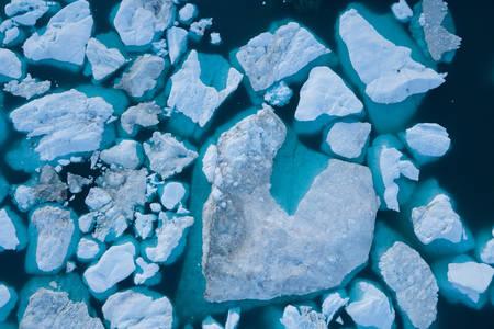 Vista superior de icebergs