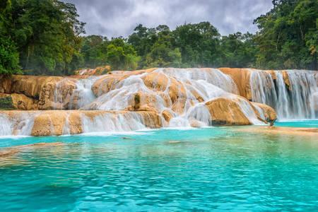 View of the waterfall Agua Azul