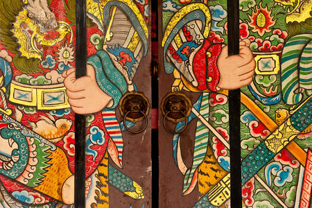 Drawing on the Chinese door