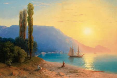 """Ivan Aivazovsky: """"Sunset over Yalta"""""""
