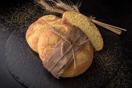 Corn bread on black background