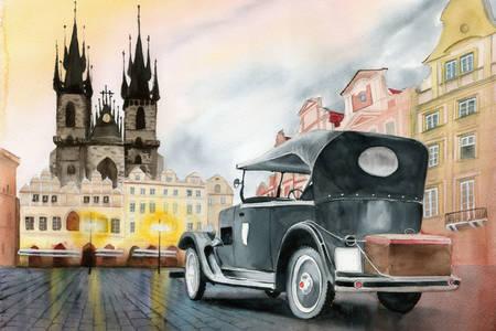 Mașină retro în Praga
