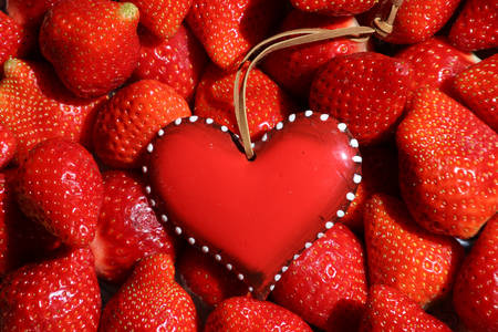 Heart in strawberries