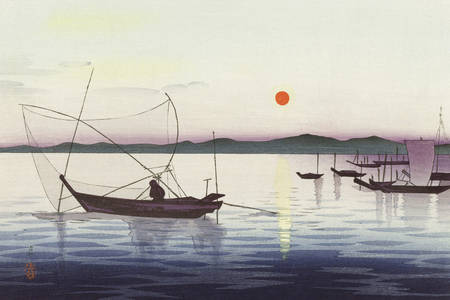 "Ohara Koson: ""Boats and setting sun"""