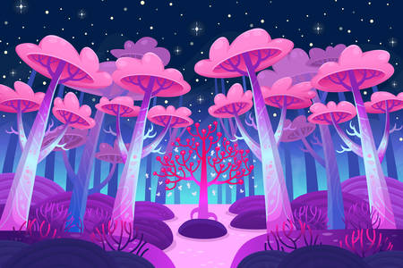 Night forest with magic trees