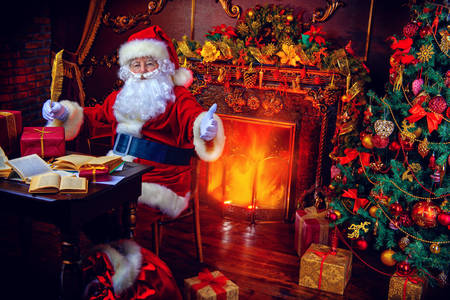 Santa Claus by the fireplace