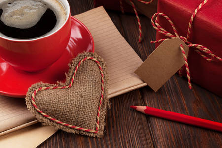Cup of coffee and burlap heart