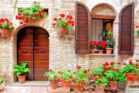 Fasada kuće sa svijetlim cvijećem u posudama