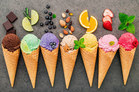 Ice cream with different flavors