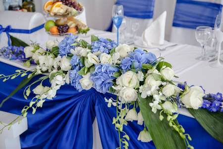 Composition of flowers on a wedding table